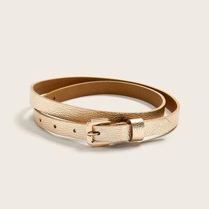 Skinny Leather Belt - Metallic Gold